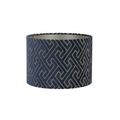 Lamp Shade Dark Blue Embossed Fabric