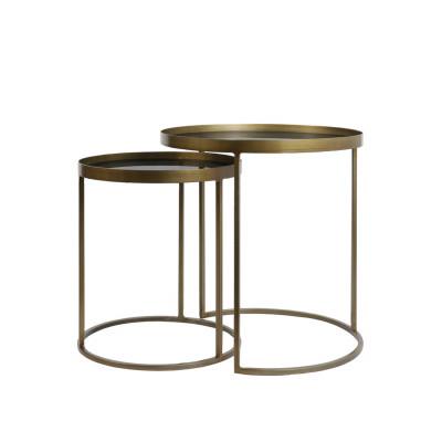 Set 2 Side Tables Metal/Glass